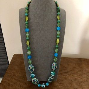 3/$25 ** Blue and green beads long string necklace
